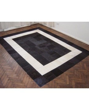 White Black Patchwork Cowhide Rug 508