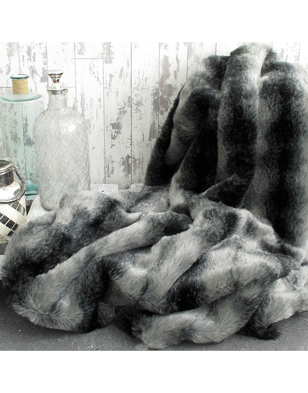 Black Wolf Faux Fur Throw | Large Dark Grey Bed or Sofa Throw