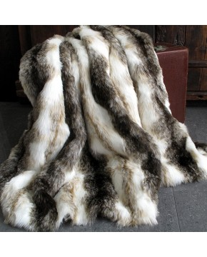 Italian Wolf Faux Fur Throw