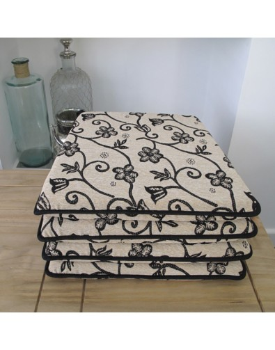 Seat Pads & Cushions, Black Daisy Square Tapered Seat Pads , faux-fur-throws