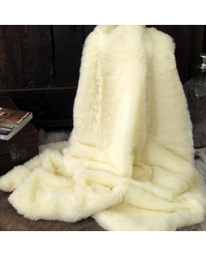 Cream Polar Bear Faux Fur Throw