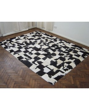 Black White Patchwork Cowhide Rug 447