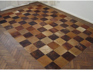 Patchwork Cowhide Rugs, Brown Patchwork Cowhide Rug 412 , faux-fur-throws