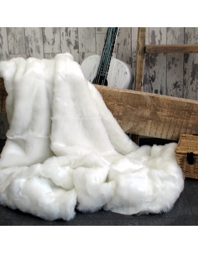 White Faux Fur Throw Polar Bear Large Sofa Bed