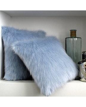 Faux Fur Cushions, Baby Blue Faux Fur Cushion , faux-fur-throws