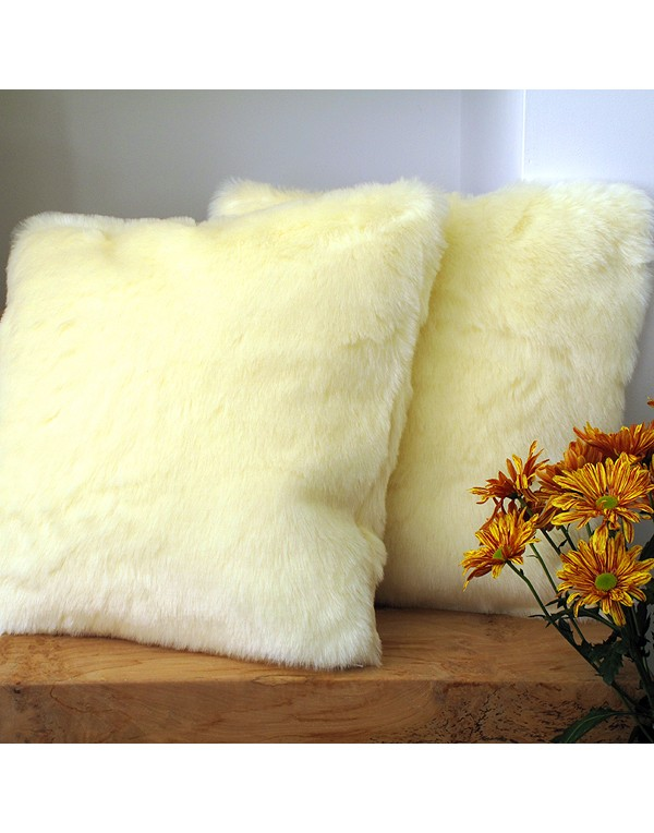 Faux Fur Cushions, Cream Polar Bear Faux Fur Cushion , faux-fur-throws