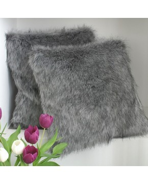 Faux Fur Cushions, Grey Squirrel Faux Fur Cushion , faux-fur-throws