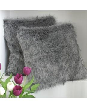 Faux Fur Cushions, Grey Squirrel Faux Fur Cushion , faux-fur-throws