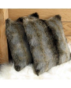 Grey Wolf Faux Fur Cushion