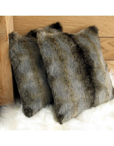 Faux Fur Cushions, Grey Wolf Faux Fur Cushion , faux-fur-throws