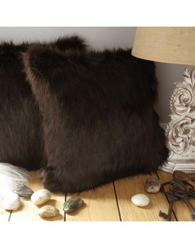Faux Fur Cushions, Brown Bear Faux Fur Cushion , faux-fur-throws