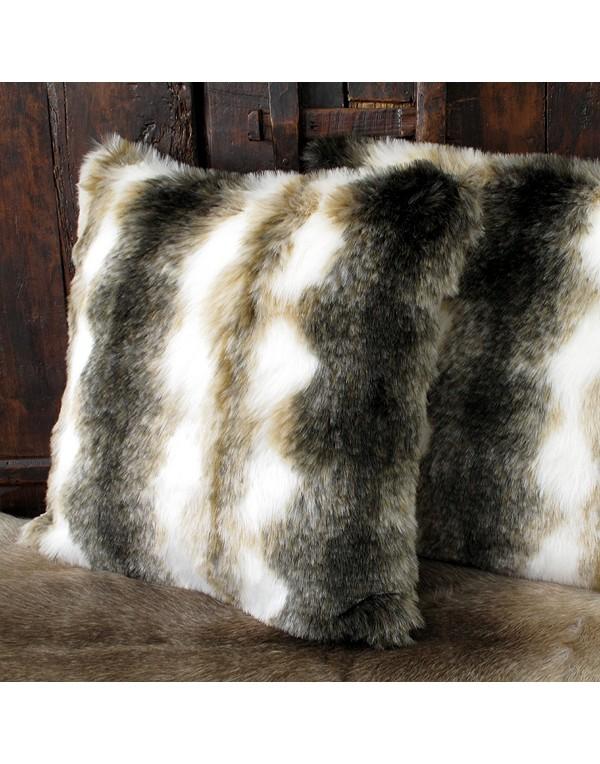 Faux Fur Cushions, Italian Wolf Faux Fur Cushion , faux-fur-throws