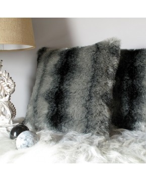 Black Wolf Faux Fur Cushion