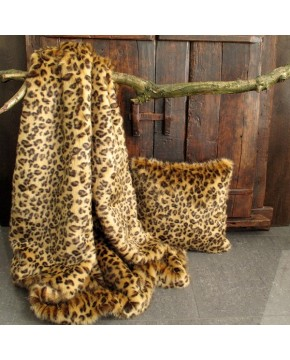 Golden Leopard Faux Fur Throw