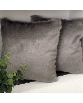 Dove Grey Faux Fur Cushion