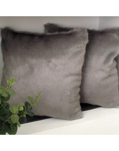 Dove Grey Faux Fur Cushion