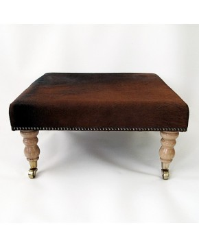 Plain Brown Medium Cowhide Footstool 213