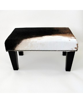 Small Tri coloured Cowhide Footstool 209