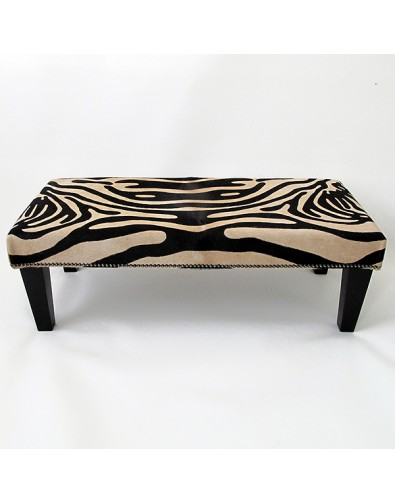 Extra Large Brown Zebra Cowhide Footstool 214 with modern black tapered legs