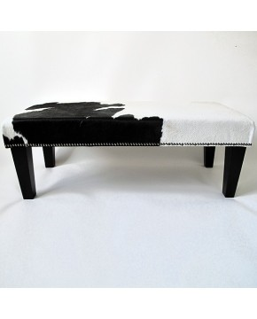 Cowhide Footstool 216, very dark brown and ivory white with modern tapered leg