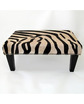 Large Brown Zebra Cowhide Footstool 205