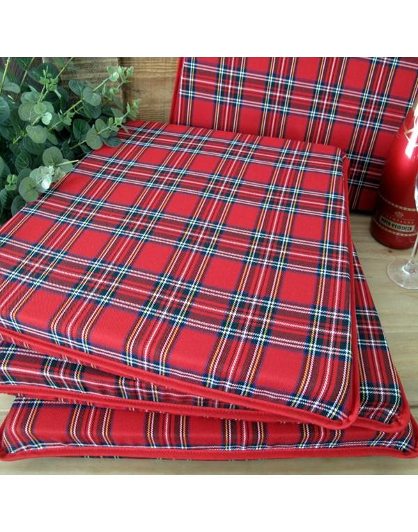 Red Tartan Tapered Seat Pads