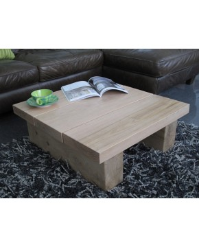 Square Solid Light Oak 3 board Coffee Table