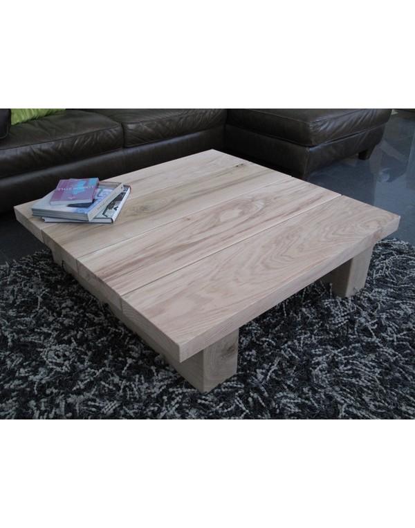 Natural Solid Oak 4 Board Square Coffee Table Light Oak