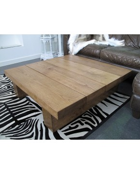 Large Square Oak Coffee Table 4 Board Medium