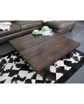 Solid Dark Oak 4 board Square Coffee Table