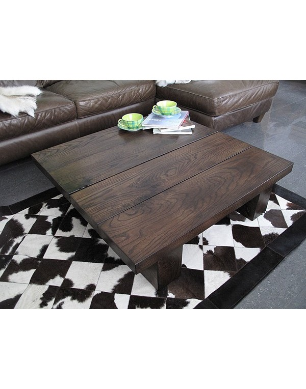 Oak Coffee Tables, Solid Dark Oak 4 board Square Coffee Table , faux-fur-throws