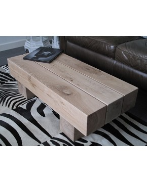 Rustic Oak Coffee Table 3 Beam Light