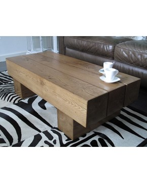 3 Beam Solid Medium Oak Coffee Table