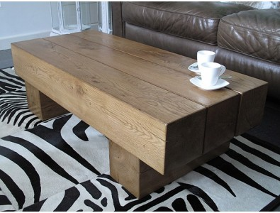 Oak Coffee Tables, 3 Beam Solid Medium Oak Coffee Table , faux-fur-throws