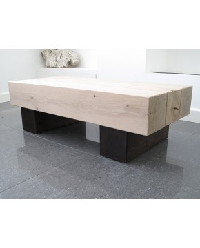 Solid Oak Coffee Table 3 Beam Two Tone