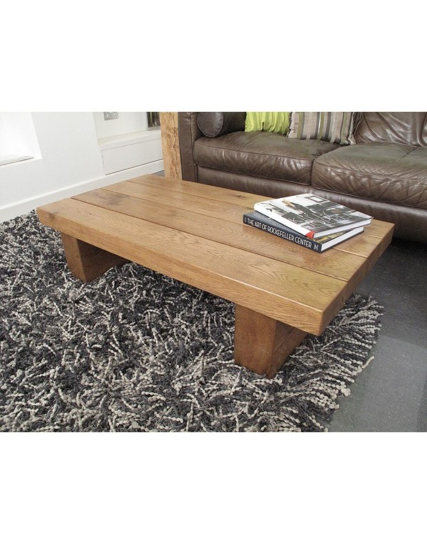 Natural Solid Medium Oak 4 Beam Coffee Table Heavy Oak Coffee Table