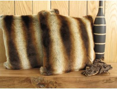Faux Fur Cushions, Gold Brown Chinchilla Faux Fur Cushion , faux-fur-throws