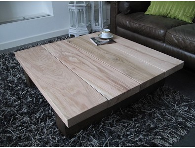 Oak Coffee Tables, Solid Two Tone Oak 4 board Square Coffee Table , faux-fur-throws