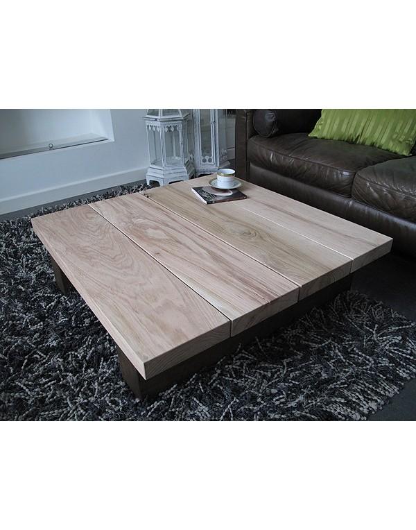 Oak Coffee Tables, Solid Two Tone Oak 4 board Square Coffee Table , faux-fur-throws