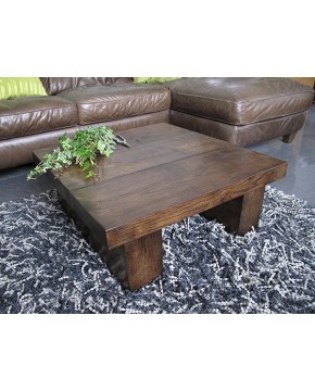 Square Solid Dark Oak 3 board Coffee Table