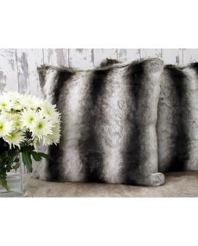 Beige Brown Chinchilla Faux Fur Cushion