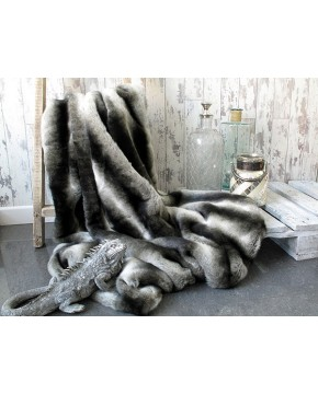 Silver Brown Chinchilla Faux Fur Throw