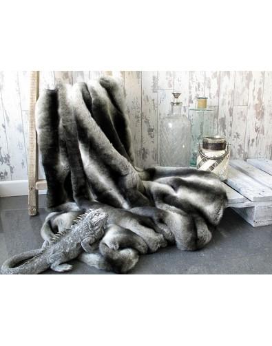 Faux Fur Throws, Silver Brown Chinchilla Faux Fur Throw , faux-fur-throws