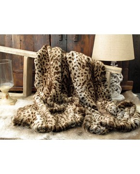 Beige Jaguar Faux Fur Throw
