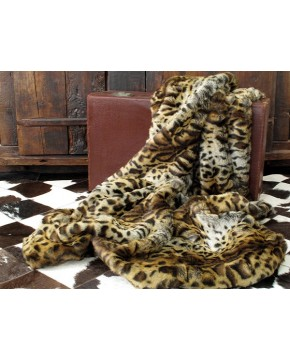 Gold Jaguar Faux Fur Throw