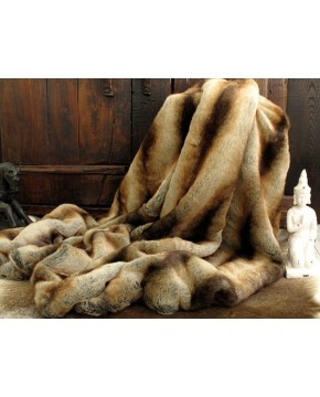 Gold Brown Chinchilla Faux Fur Throw