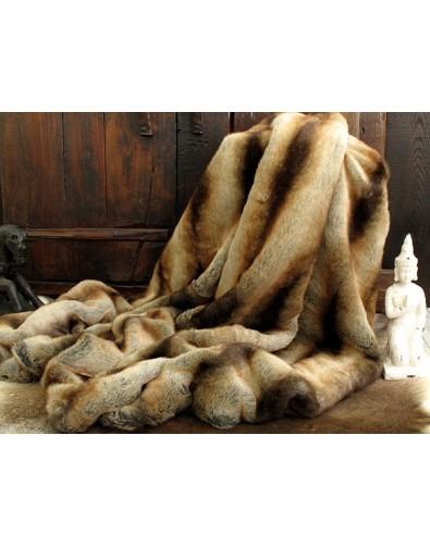 Faux Fur Throws, Gold Brown Chinchilla Faux Fur Throw , faux-fur-throws