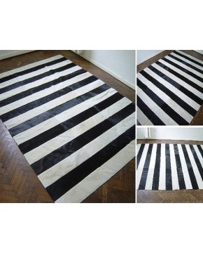 Striped Patchwork Cowhide Rug 425