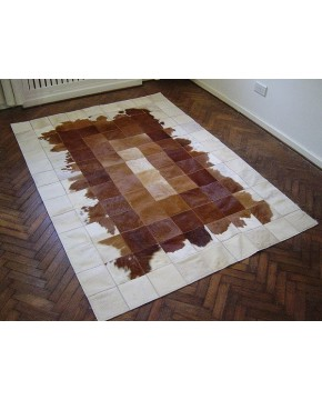 Brown White Patchwork Cowhide Rug 518