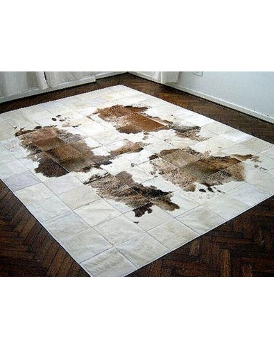 Patchwork Cowhide Rugs, White Brown Patchwork Cowhide Rug 491 , faux-fur-throws